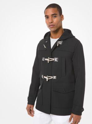 마이클 코어스 맨 더플 코트 Michael Kors Bonded Wool and Cotton Gabardine Duffle Coat,BLACK