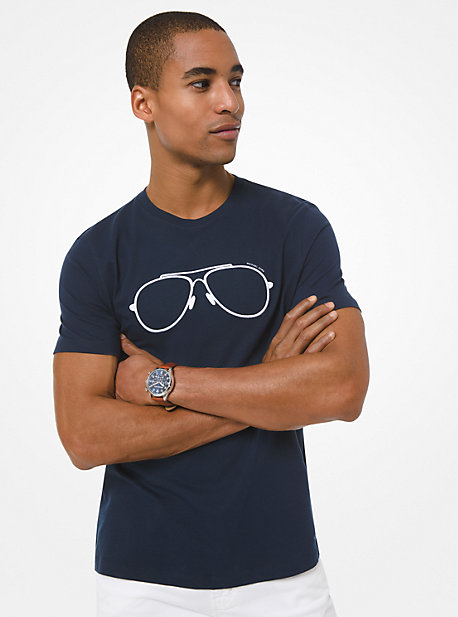 Michael Kors Aviator Print Cotton Jersey T-shirt In Blue