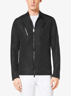 Leather-Trim Nylon Moto Jacket by Michael Kors