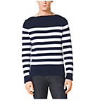 Striped Cotton and Cashmere Boatneck Sweater