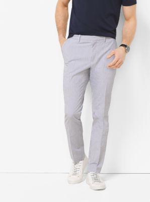 Slim-Fit Seersucker Trousers by Michael Kors