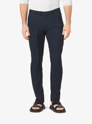 Slim-Fit Pleated Cotton Trousers by Michael Kors