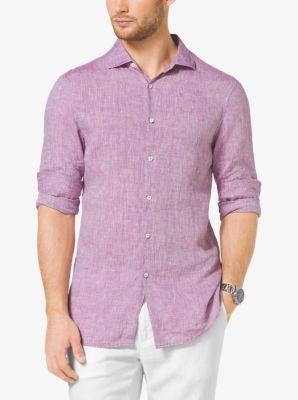 Slim-Fit Chambray Linen Shirt by Michael Kors