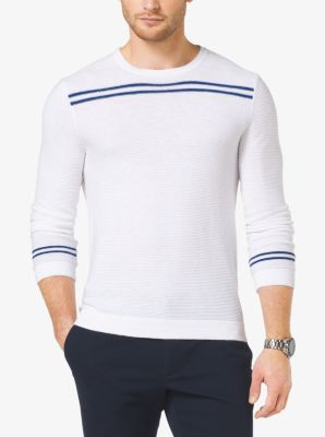 Striped Linen and Cotton Sweater by Michael Kors