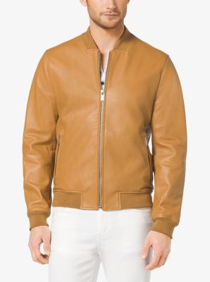 Leather Bomber Jacket by Michael Kors