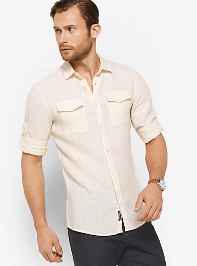 Gestreiftes Slim-fit-Hemd aus Leinen by Michael Kors