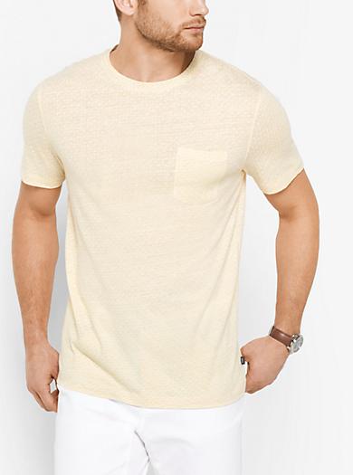 T-Shirt aus Leinen und Baumwolle mit Punktmuster by Michael Kors