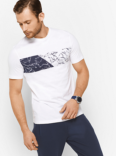 T-Shirt in cotone stampa palme by Michael Kors