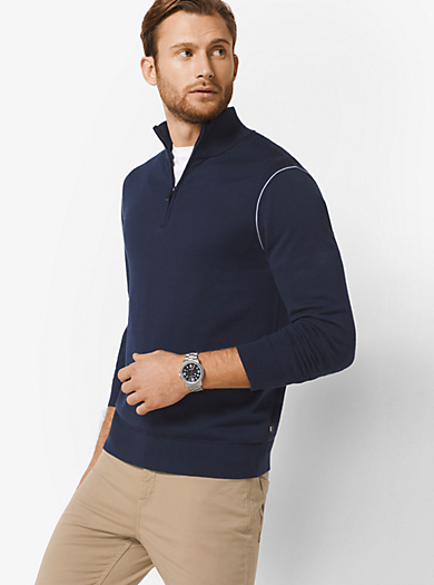 Half-Zip Cotton-Blend Mock-Neck Pullover by Michael Kors