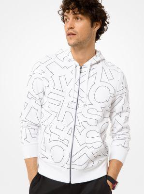 Michael Kors Graphic Logo Print Cotton-Blend Zip-Up Hoodie,WHITE