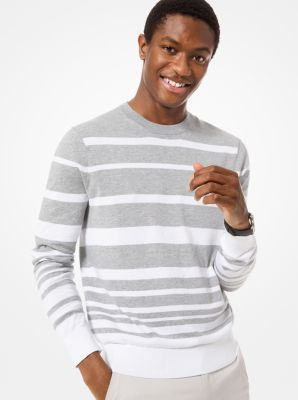 Michael Kors Striped Cotton Sweater,HEATHER GREY