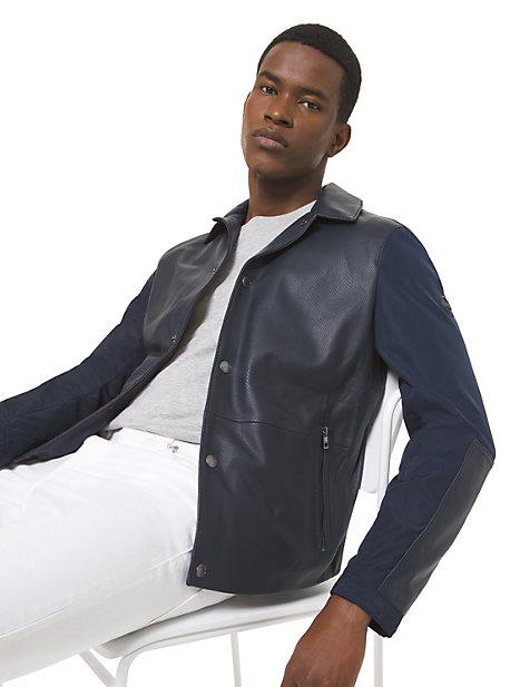 Veste en cuir contrecollé et perforé - BLEU DE MINUIT(BLEU) - Michael Kors