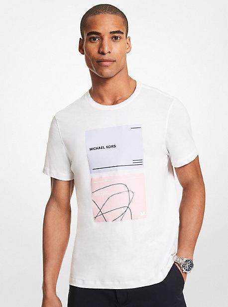 MK T-shirt en coton à imprimé logo - BLANC(BLANC) - Michael Kors