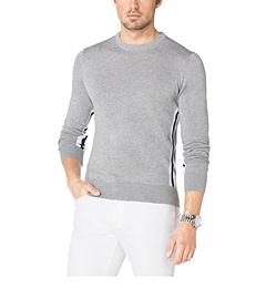 Striped-Trim Crewneck Cotton Sweater