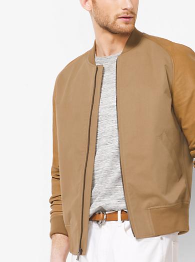 Leather-Sleeve Cotton-Twill Baseball Jacket by Michael Kors