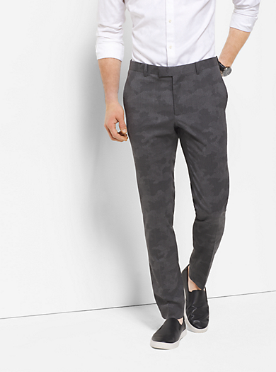 Slim-Fit Camouflage Tropical Wool Trousers  by Michael Kors