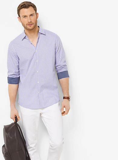 Tailored-Fit Gingham Cotton Shirt  by Michael Kors