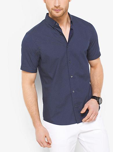 Slim-Fit Dot Cotton Shirt by Michael Kors