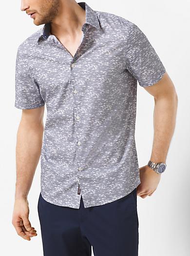Digital-Print Short-Sleeve Shirt by Michael Kors