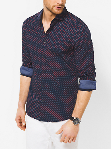 Slim-Fit Cross Cotton Shirt  by Michael Kors