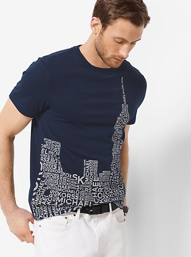 Skyline-Print Jersey T-Shirt by Michael Kors