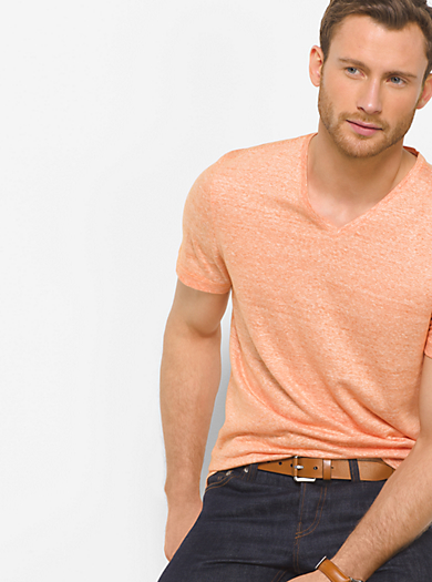 Linen and Cotton V-Neck T-Shirt  by Michael Kors