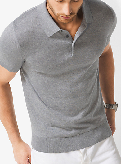 Silk and Cotton Polo Shirt by Michael Kors