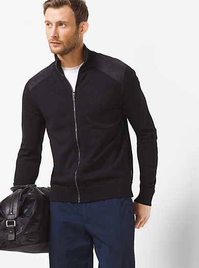 Perforated Zip-Front Sweater by Michael Kors