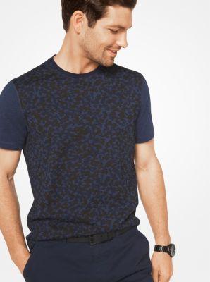 Color-Block Camouflage Cotton T-Shirt by Michael Kors