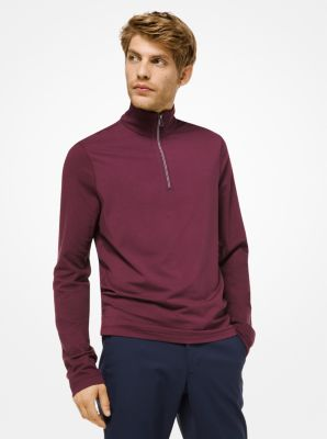 Michael Kors Stretch-Cotton Quarter-Zip Sweater,CORDOVAN