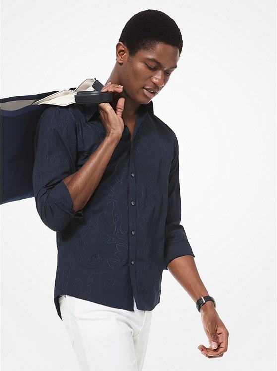 Slim-Fit Embroidered Cotton Shirt | Michael Kors