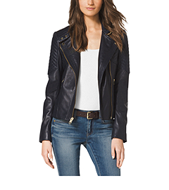 Quilted-Panel Leather Jacket