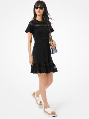 마이클 마이클 코어스 원피스 Michael Michael Kors Crepe Jersey and Mesh Ruffled Dress,BLACK