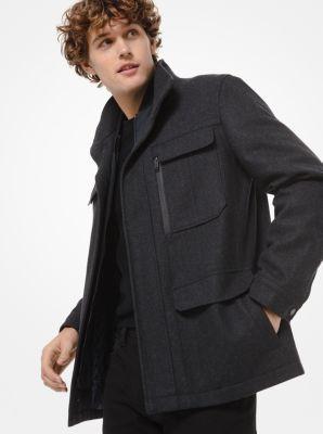 Michael Kors Wool Blend Field Coat,CHARCOAL