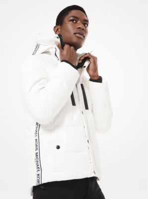 Michael Kors Eco-Friendly Logo Tape Quilted Puffer Coat,WHITE