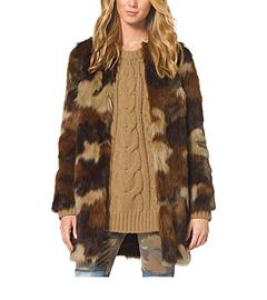 Camouflage-Print Faux Fur Coat
