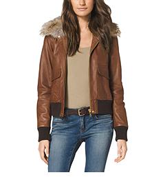 Fur-Trimmed Leather Bomber Jacket