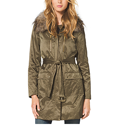Fur-Trimmed Parka Coat