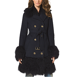 Fur-Trimmed Merino Wool Coat