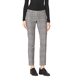 Houndstooth Plaid Stretch-Cotton Pants