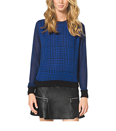 Houndstooth-Print Sweater