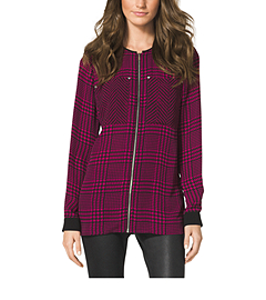 Zip-Front Plaid-Print Blouse