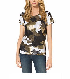Camouflage-Print Sequined Top