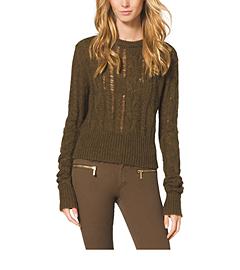 Open-Stitch Cable Crewneck Sweater