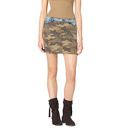 Camouflage-Print and Denim Skirt