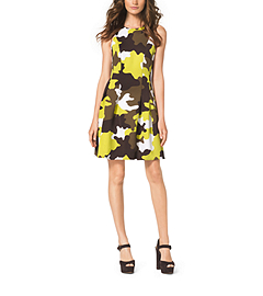 Camouflage Fit-and-Flare Dress