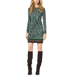 Paisley-Print Jersey Dress