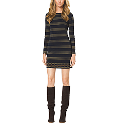 Stripe-Print Boatneck Dress