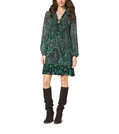Paisley-Print Lace-Up Dress