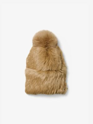 Pom-Pom Fur Beanie by Michael Kors